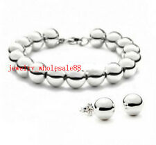 Fashion Jewery Set Stainless Steel 6mm Rosary Ball Beads Bracelet & Earring Stud