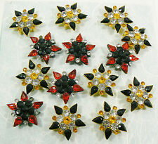 LoT of 14 Buttons Buckles Pins for Jewelry crafts Starburst Flower Black Clear