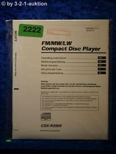 Sony Bedienungsanleitung CDX R3000 CD Player (#2222)