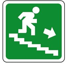 CARTELLO SEGNALETICA SCALE emergenza. Emergency exit stairs right 230x230mm