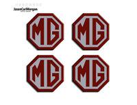 MGF MG Car Wheel Hub Cap Centre Emblem Badge Set Burgundy Silver 45mm Badges