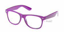 Retro Purple Clear Lens Glasses Thick Frame Nerd Emo Non Prescription Fashion