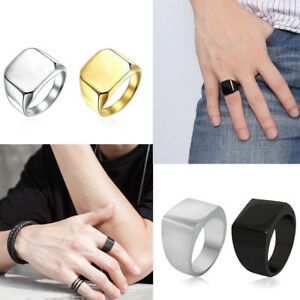 Women Men Polished Gold Trendy Band Biker Signet Ring Black Silver giftJewellery