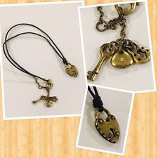 Fossil Heart Lock Leather Pendant Necklace Goldtone
