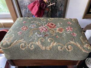 Vintage Needlepoint Footstool Ottoman Carved Mahogany Wood