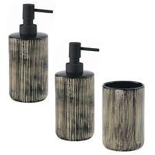 Set accessori bagno doppio dosasapone e porta spazzolini ceramica nero e avorio