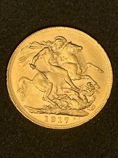 More details for 1917 p george v full sovereign 7.98g 22ct gold - royal mint high grade box + coa