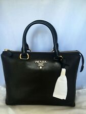 NWT! PRADA Black Cervo Shine 2-way Satchel Crossbody Bag 1BA063