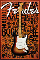 (LAMINATED) FENDER WORDS POSTER (91x61cm)  PICTURE PRINT NEW ART