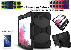 """For Samsung Galaxy Tab A 7.0""""(2016) Screen Protector/Heavy Duty Shock Proof Case"""