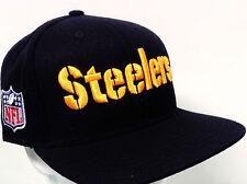 Pittsburgh Steelers Hat Black Wool Flatbill Snapback  w/Raised 3-D Embroidery