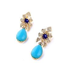 orecchini Clip Dorato Art Deco Fiore Goccia Turchese Blu Originale J2