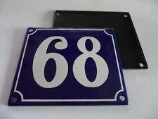 Old French Blue Enamel Porcelain Metal House Door Number Street Sign / Plate 68