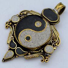 Black White Ying Yang Brass Pendant Tibetan Nepalese Handmade Tibet Nepal UP1175