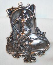Muse Brooch Pin Necklace Pendant Silvertone Art Nouveau Reproduction Greek