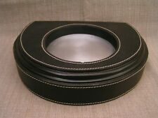 """The Bombay Company Stitched Black Leather Wrapped 9"""" Wall Sconce Shelf"""