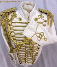 "Men's Military Gold Hussar  White/Cream Officers Jacket 42,44"",46""Epaulettes/A"