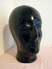 Art Deco style black glass mannequin head [C111]