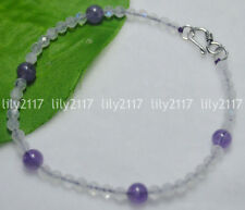Natural 4.1mm Blue Flash Rainbow Faceted Moomstone Round Amethyst Beads Bracelet