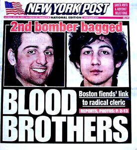 Boston Marathon Bombings Newspaper New York Post 4/20/2013 Bomber Blood Brothers