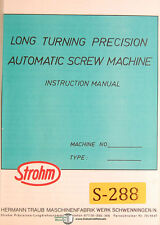 Strohm Long Turning Automatic Screw Machine, Operations and Parts Manual