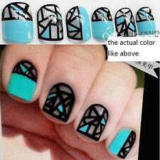 24pcs Bride False Artificial Fake Nails Tips Designed French Finger Grid Cute