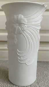 KAISER GERMANY white Bisque tall porcelain floral vase signed M Frey / no: 740/3