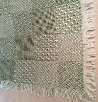 Block Basket Jacquard Woven Green Throw Blanket Afghan Decorative Home USA