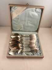 VINTAGE STERLING SILVER SPOON SET OF 12 IN FELT BOX BY A. KOMO GERMANY