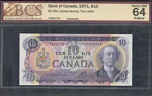 1971 $10.00 BC-49c BCS CH UNC-64 * STUNNING Multicoloured Canada OLD Ten Dollars