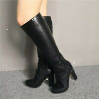 Womens Knee-high Boots Knight Shoes Block Gladiator Pumps Zip Sexy Clubwear Prom