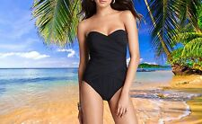 NWT GOTTEX Beach Goddess BLACK 1 pc bandeau SLIMMING Bathing Suit SWIMSUIT sz 10