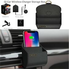 Qi Wireless Car Charger Storage Box Fast Charging Holder for iPhone Samsung Blk