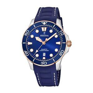 Festina F20502-2 Women's Blue Rubber Strap Wristwatch