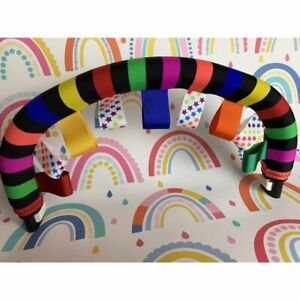 Rainbow bumper bar cover + taggies to fit Bugaboo Donkey Cameleon iCandy Peach