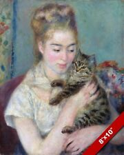 YOUNG WOMAN GIRL WITH CAT AUGUST RENOIR FRENCH PAINTING ART REAL CANVAS PRINT