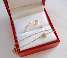 Set- VIDA  Pearls with Diamond 'Hearts'  14k Rose Gold Ring & Bracelet