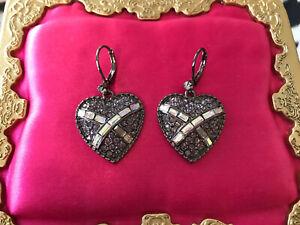 Betsey Johnson Violet Lavender Purple Crystal Cross My Heart AB Pewter Earrings