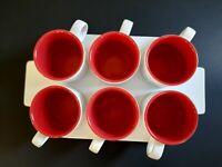 CRATE & BARREL White & Red  Stoneware 6 Mugs Tea Cups & Tray Pick Me Up Mugs