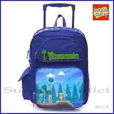"""Terraria 16"""" Large Rolling Backpack Roller Bag Book Bag"""
