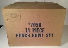 Riekes Crisa MIB Blown Glass Moderno Pattern Punch Bowl Set Cups Bowl Ladle 7050