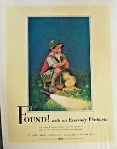EVEREADY BATTERIES, Child, Pet Dog, Lost & Found, Vintage 1948 Antique Print Ad