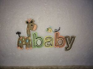 Carters White Plush Baby Blanket Brown Trim Giraffe Bee B A B Y Just One Year