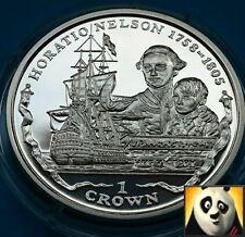 2006 FALKLAND ISLANDS 1 Crown HMS VICTORY & Nelson Trafalgar Silver Proof Coin