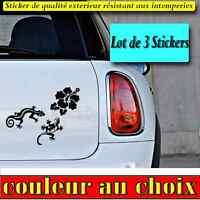 3 stickers autocollant hibiscus gecko salamandre deco voiture, frigo, ipad decal