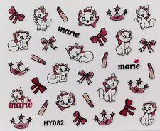 Nail Art 3D Decal Stickers Cute Cat Kitten Crown Lipstick Marie HY082