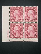 RIV: US MH 583 Plate Block of Four FRESH 2 cent Washington 1924 issue mint 2A