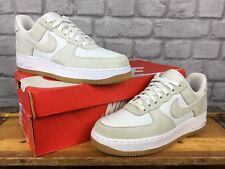NIKE MENS UK 6 EU 40 WHITE GREY AIR FORCE 1 LOW SUEDE CANVAS BASKETBALL TRAINERS