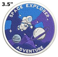 """""""SPACE EXPLORER"""" - Iron On Embroidered Applique Patch/Outer Space, Astronaut"""