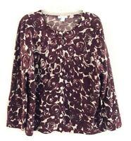 Garnet Hill Womens Size XL Purple Merino Wool Cardigan Button Front Crew Sweater